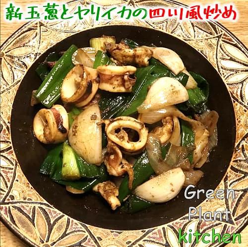 #旬野菜~新玉葱とヤリイカの四川風炒め
